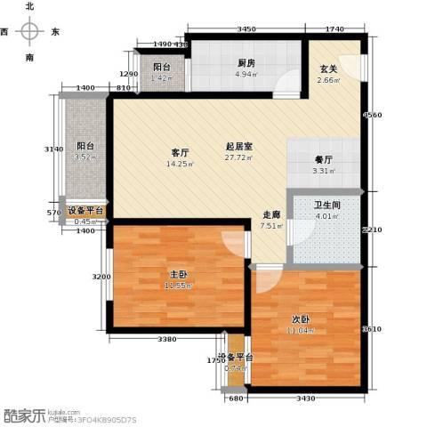 梵谷水郡(ZAMA三期)2室0厅1卫1厨94.00㎡户型图