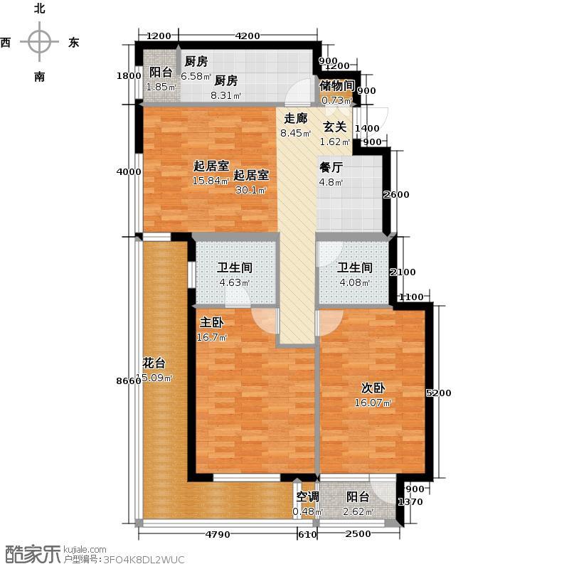 金地・格林小镇6A2二层两室两厅两卫户型