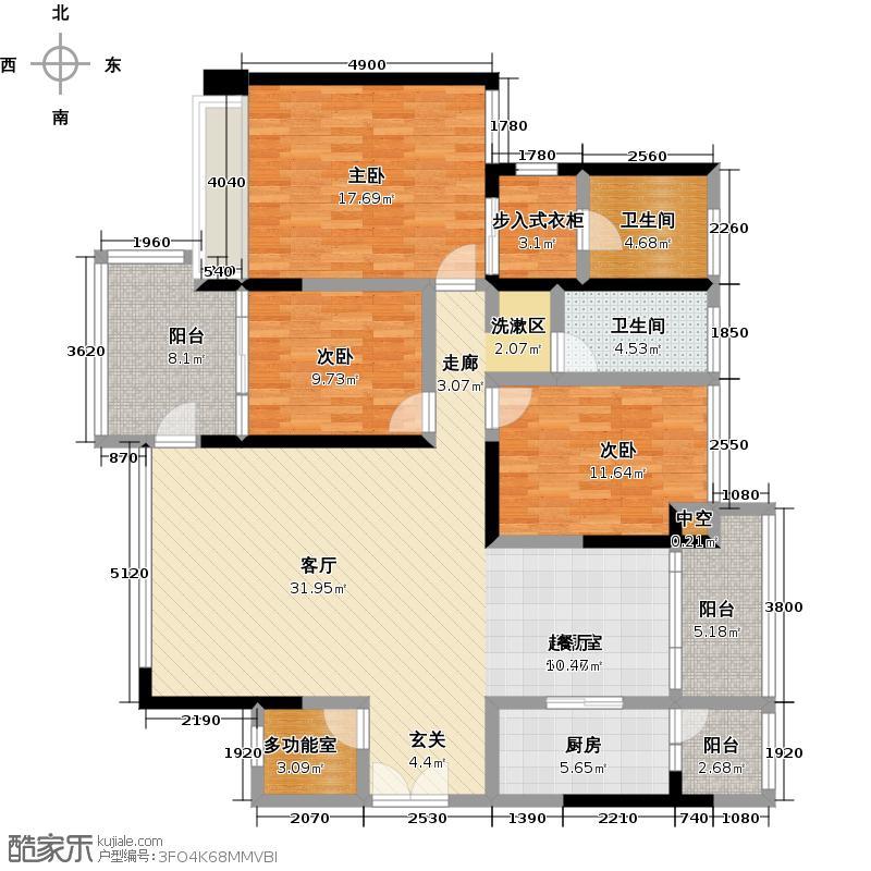 波托菲诺香山里二期8栋偶数层F户型3室2卫1厨