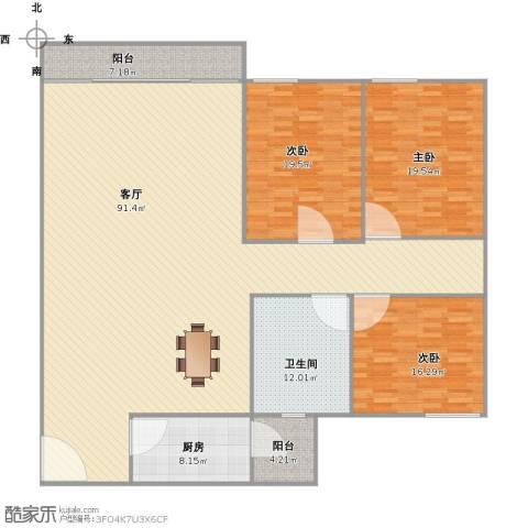 华工北区3室1厅1卫1厨235.00㎡户型图
