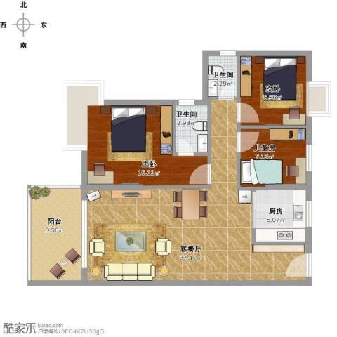金色家园3室1厅2卫1厨110.00㎡户型图