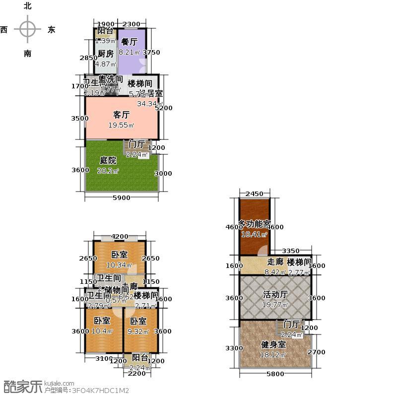 丽景翠庭商业185.23㎡四房二厅三卫,面积约185平方米户型