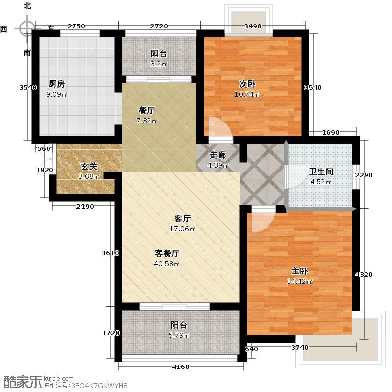 阳光星期8二室二厅一卫89.49平米户型