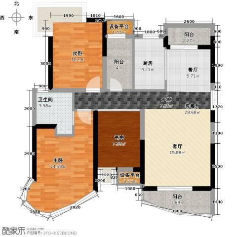 南昌铜锣湾广场3室1厅1卫1厨112.00㎡户型图