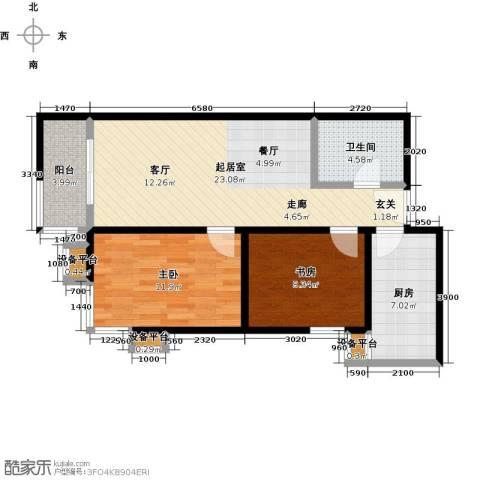 梵谷水郡(ZAMA三期)2室0厅1卫1厨88.00㎡户型图