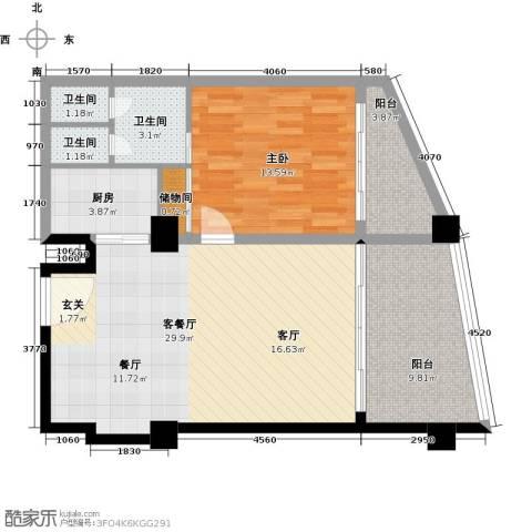 三亚海韵度假酒店1室1厅3卫1厨67.22㎡户型图
