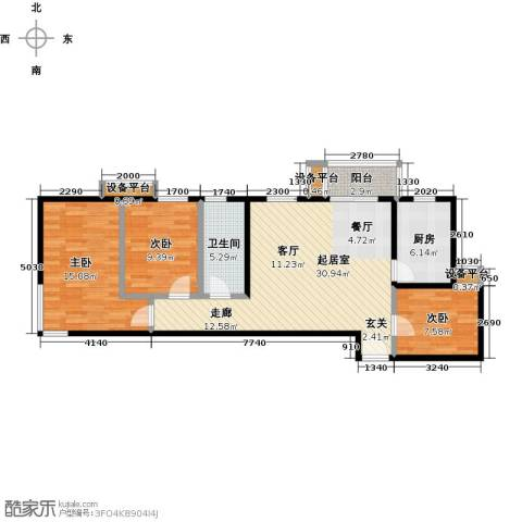 梵谷水郡(ZAMA三期)3室0厅1卫1厨112.00㎡户型图