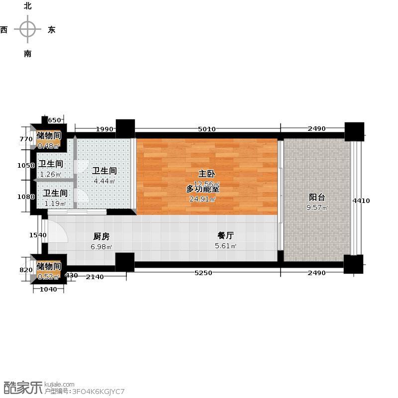 三亚海韵度假酒店57.75㎡一室零厅一卫户型