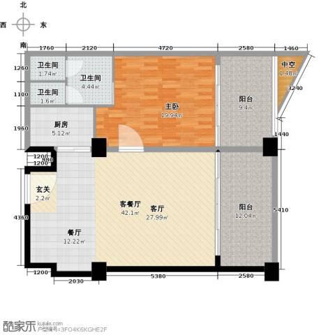 三亚海韵度假酒店1室1厅3卫1厨97.79㎡户型图
