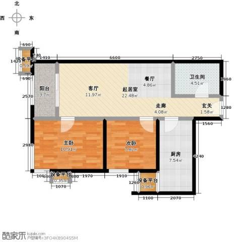 梵谷水郡(ZAMA三期)2室0厅1卫1厨85.00㎡户型图