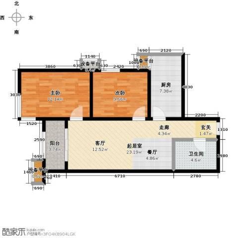梵谷水郡(ZAMA三期)2室0厅1卫1厨89.00㎡户型图