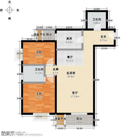 梵谷水郡(ZAMA三期)2室0厅2卫1厨110.00㎡户型图