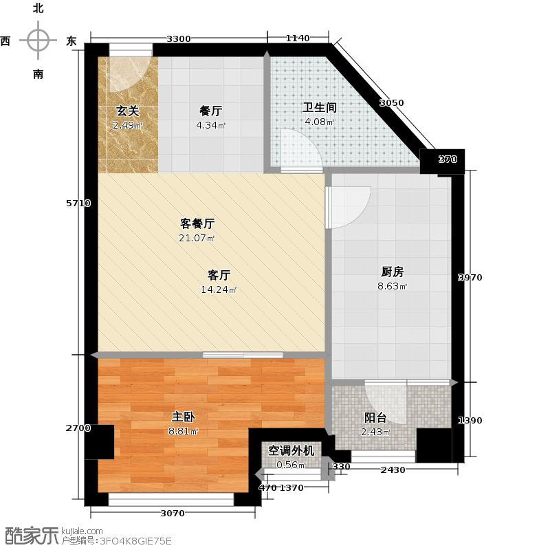 苏荷雅居65.27㎡16号楼F户型一室一厅一卫户型