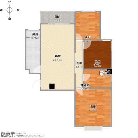 奥龙湾3室1厅1卫1厨92.00㎡户型图