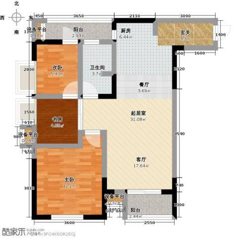 香格里拉花园四期国际广场3室0厅1卫0厨89.00㎡户型图