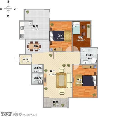 泰安盛世郡3室1厅3卫1厨118.74㎡户型图