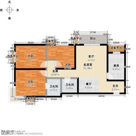 梵谷水郡(ZAMA三期)3室0厅2卫1厨124.00㎡户型图