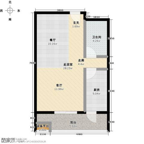 梵谷水郡(ZAMA三期)1卫1厨63.00㎡户型图