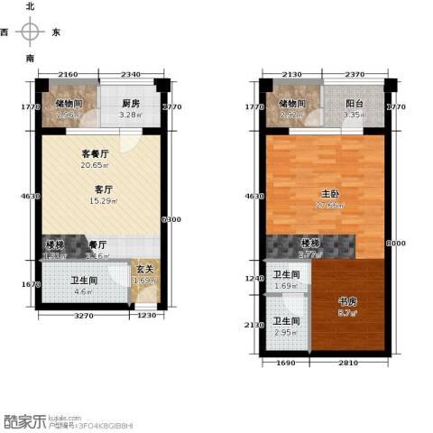 巴克寓所二期(摩界)1室1厅3卫1厨70.05㎡户型图