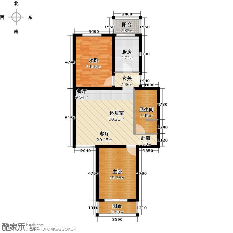天泰新景91.05㎡两室一厅一卫户型