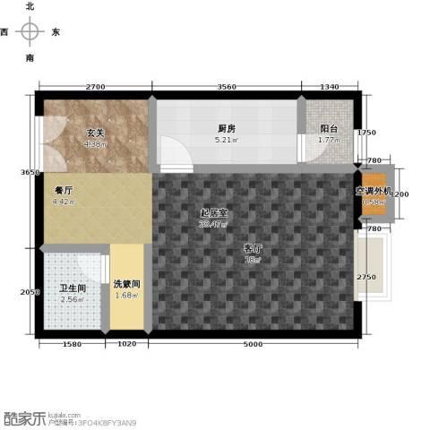 桐城国际1卫1厨52.00㎡户型图