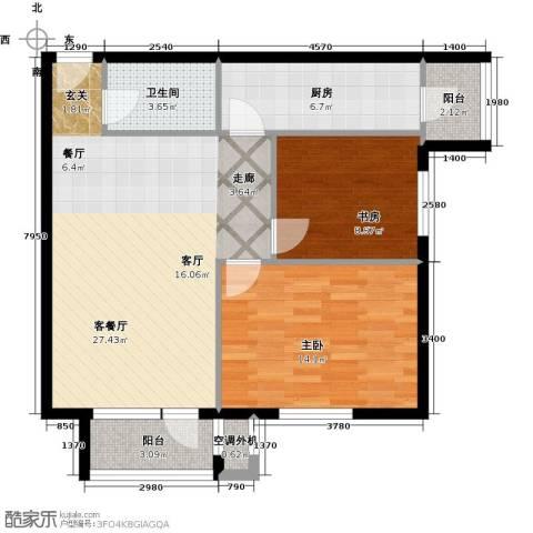 巴克寓所二期(摩界)2室1厅1卫1厨96.00㎡户型图
