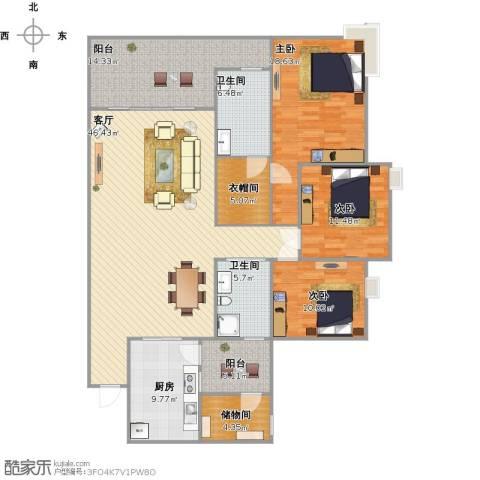 天邻风景3室1厅2卫1厨183.00㎡户型图