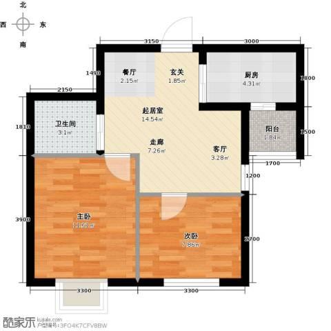 睿和新城2室0厅1卫1厨62.00㎡户型图