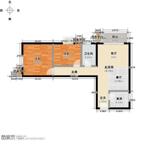 水木天成2室0厅1卫1厨88.00㎡户型图