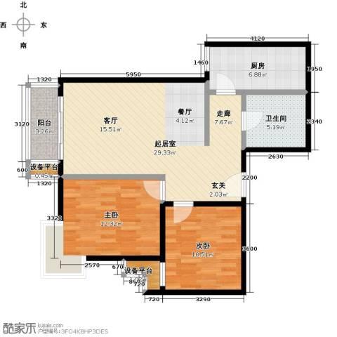 水木天成2室0厅1卫1厨97.00㎡户型图