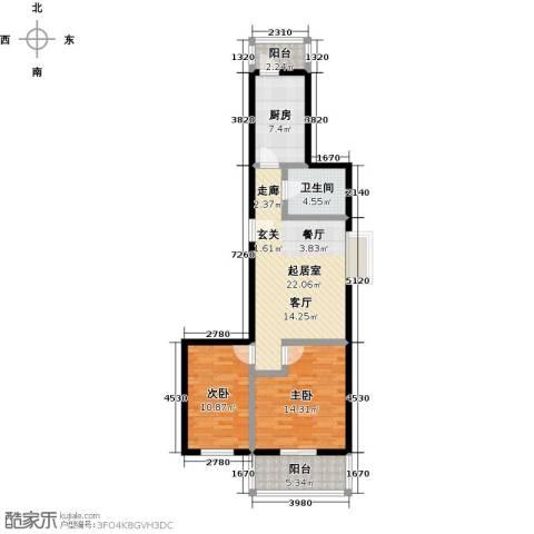 家春秋(长城脚下的四合院)2室0厅1卫1厨78.00㎡户型图
