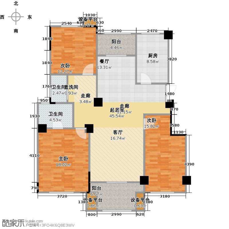 金大地国际城131.05㎡七层A户型 三室两厅两卫户型3室2厅2卫