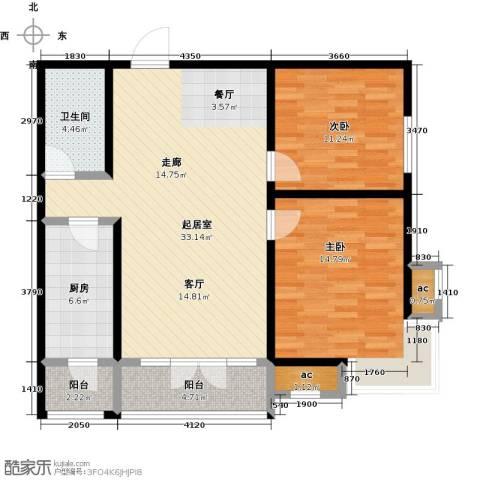 华城领秀三期2室0厅1卫1厨90.00㎡户型图