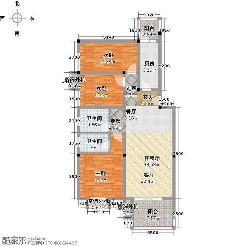 巴克寓所二期(摩界)131.92㎡3#B标准层户型