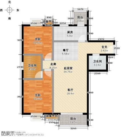 水木天成2室0厅2卫1厨105.00㎡户型图