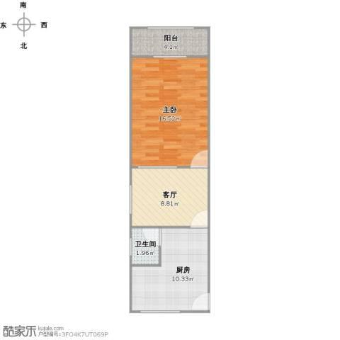 闻喜路930弄小区1室1厅1卫1厨56.00㎡户型图