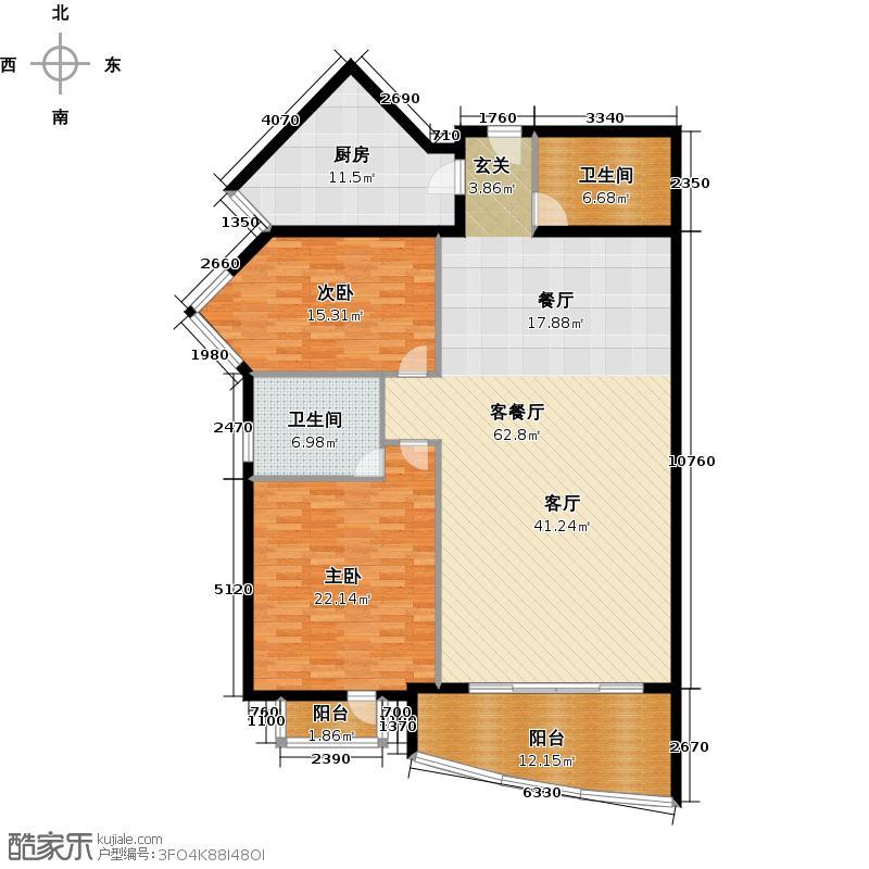 北京恒华国际商务中心153.00㎡A2反户型二室二厅一卫户型