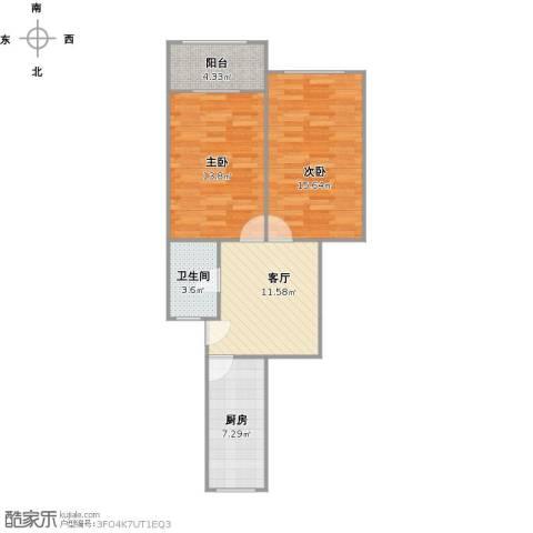 绿梅三村2室1厅1卫1厨75.00㎡户型图