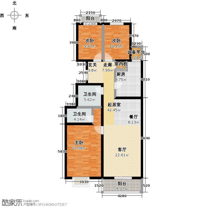 澳景花庭(畅清园二期)148.20㎡1号楼B户型三室两厅两厅户型