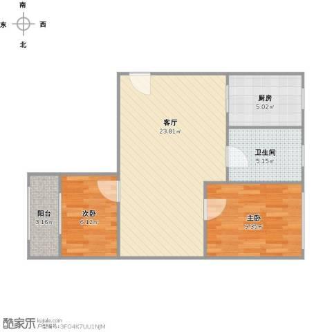 控江二村2室1厅1卫1厨70.00㎡户型图