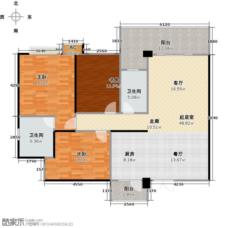 中房翡翠园绛瑛轩127.64和128.25平米户型