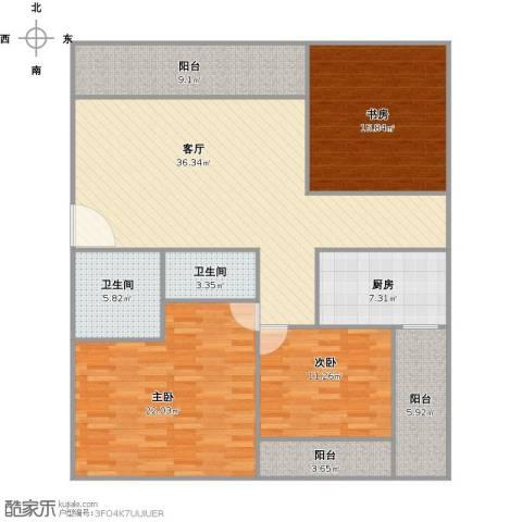 佳旺花园3室1厅2卫1厨162.00㎡户型图