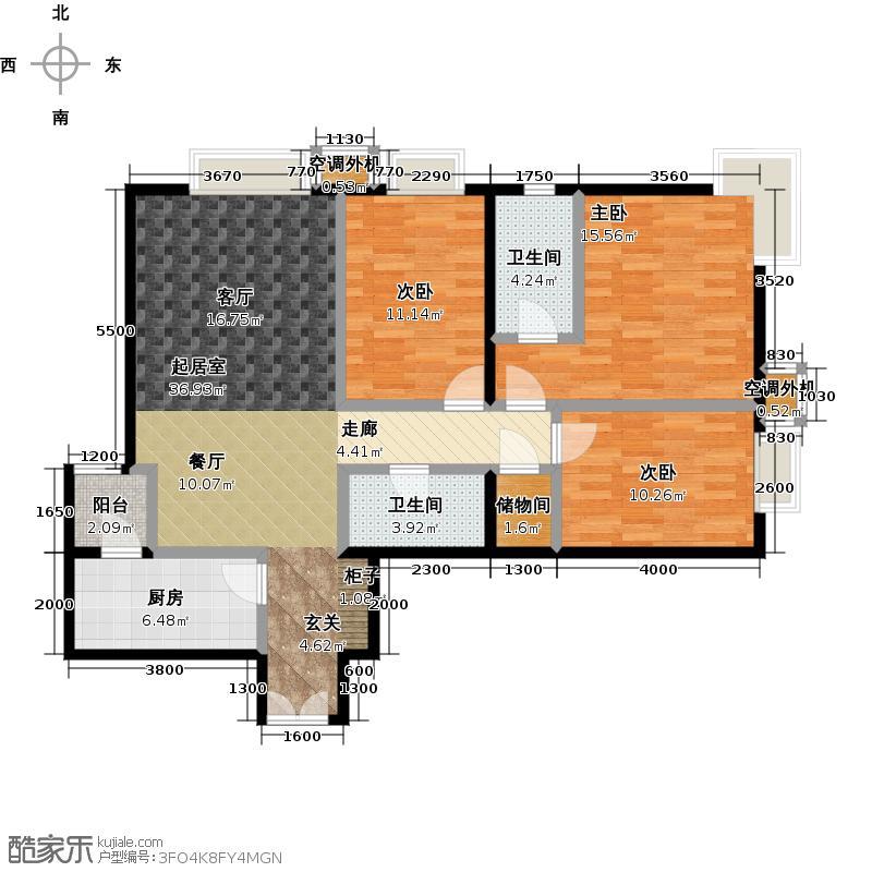 桐城国际127.49㎡(F区)1-3号楼B三室二厅二卫户型