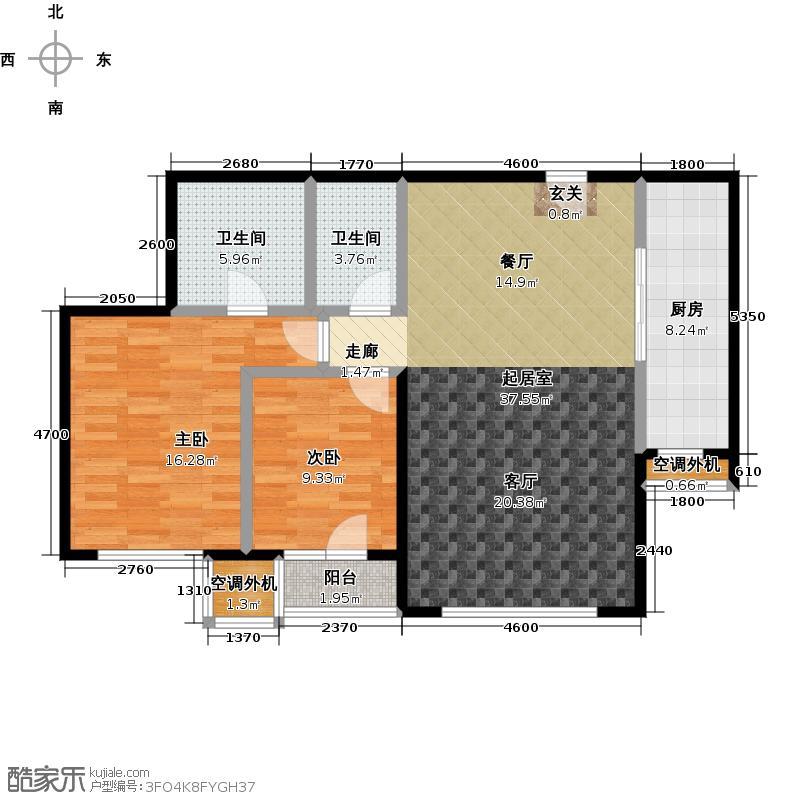 置地公寓116.98㎡02户型两室两厅两卫户型