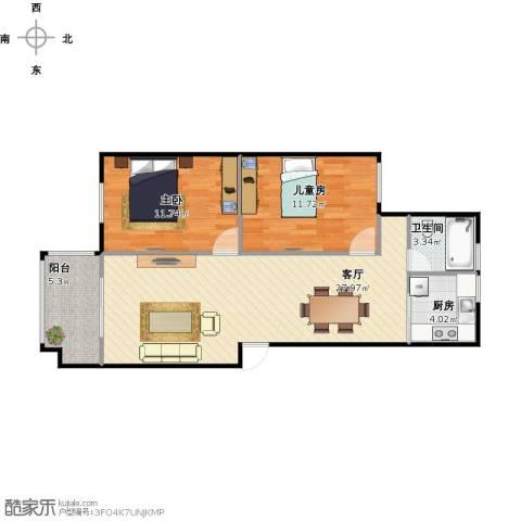 盈和花苑2室1厅1卫1厨86.00㎡户型图