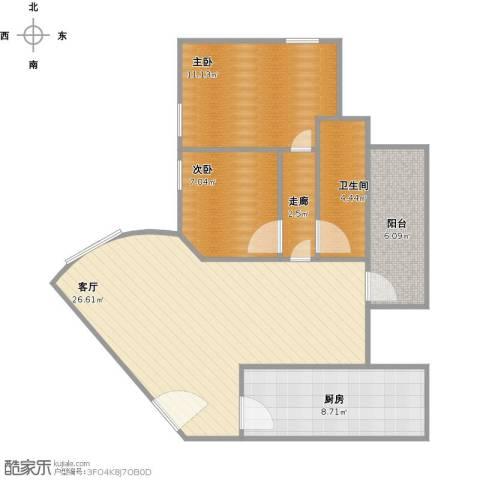 龙珠公寓2室1厅1卫1厨90.00㎡户型图