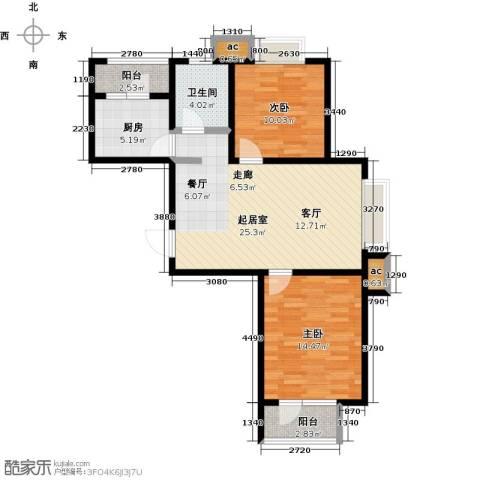 华城领秀三期2室0厅1卫1厨93.00㎡户型图