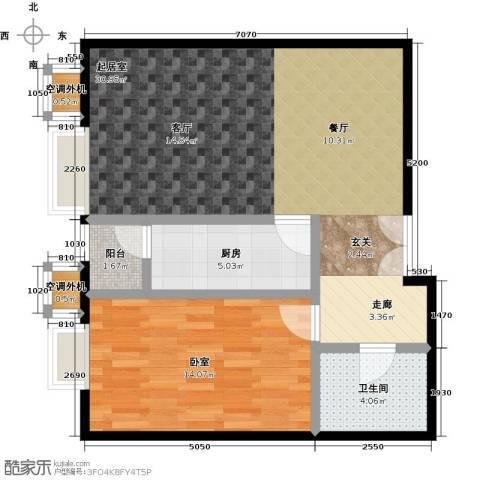 桐城国际1卫1厨75.00㎡户型图
