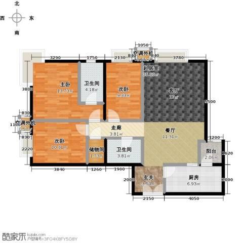 桐城国际3室0厅2卫1厨122.00㎡户型图
