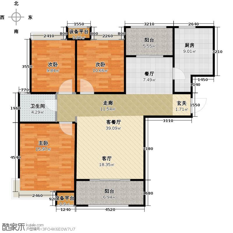 鑫苑名家115.00㎡5#115平米三室两厅一卫君岳阁户型3室2厅1卫